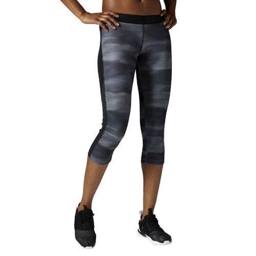 Legginsy 3/4 Reebok Workout Printed damskie getry sportowe termoaktywne